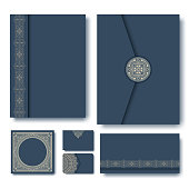 Set of vector folders with vintage geometric monogram frames and elements on dark blue background. Monogram design element. Vintage styled initial decoration. Business paper set.