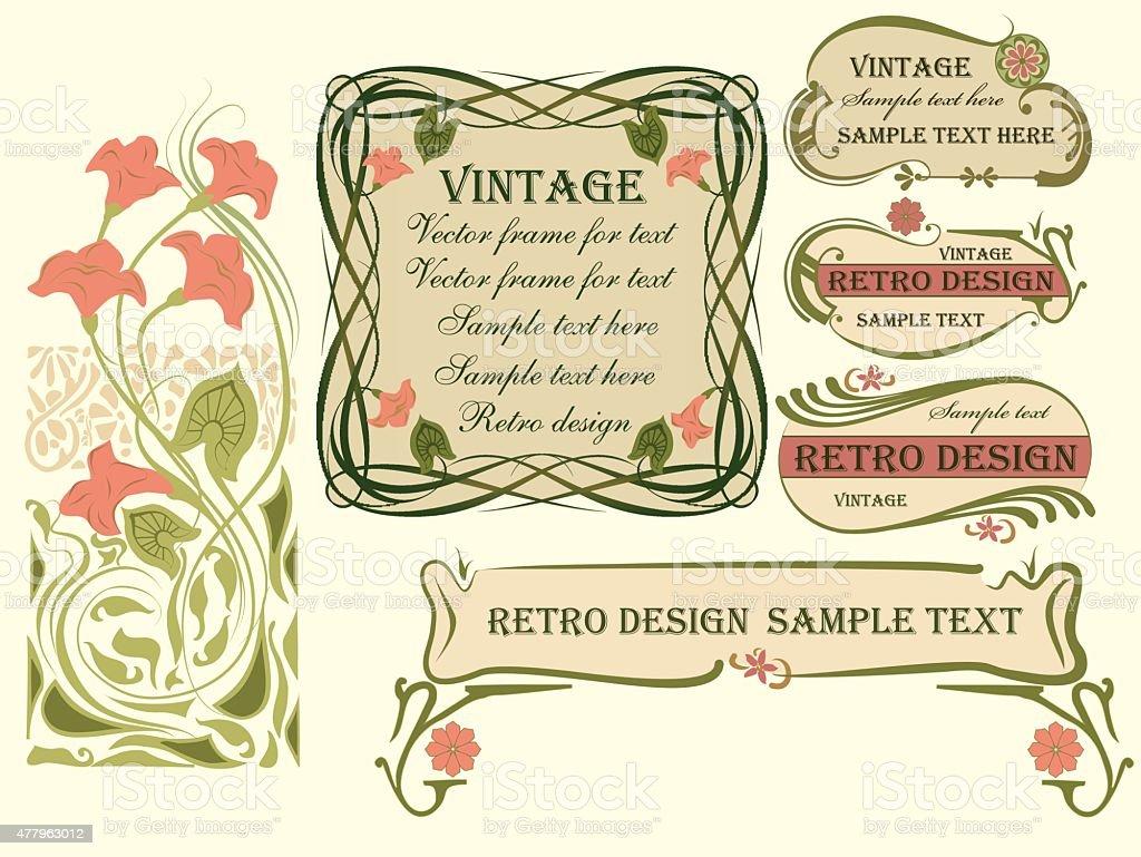 Set of vector frames and design elements. vector art illustration