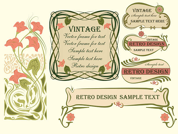 set of vector frames and design elements. - art nouveau stock illustrations, clip art, cartoons, & icons