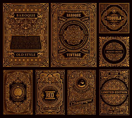 Set of vector frames in vintage style. Gold labels for bottles and packaging