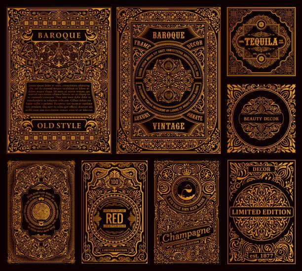 zestaw ramek wektorowych w stylu vintage. złote etykiety na butelki i opakowania - ozdobny stock illustrations
