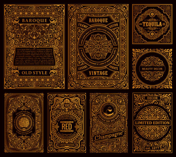 ilustrações de stock, clip art, desenhos animados e ícones de set of vector frames in vintage style. gold labels for bottles and packaging - enfeitado