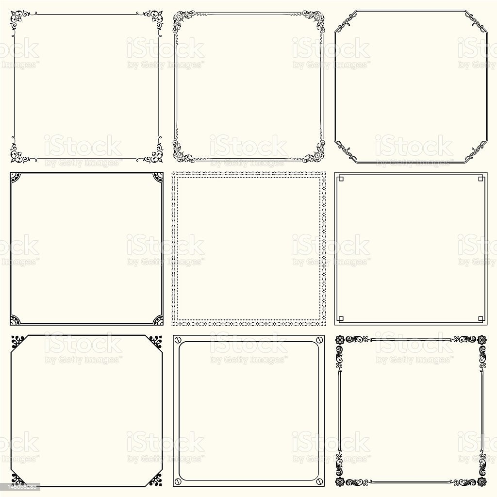 Set of vector frames vector art illustration