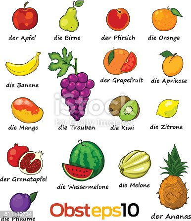 set of vector fruits with deutch names