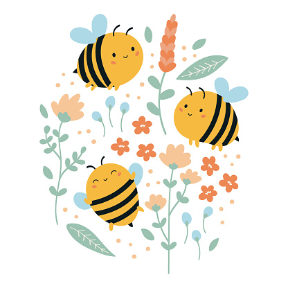 Set of vector funny kawaii bees with flowers and leaves.