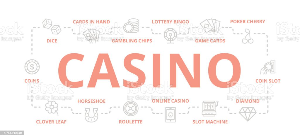 Set of vector gambling and casino thin line banner for design concept. Illustration for presentations on white background vector art illustration