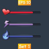 Set of vector game resource bar. Cartoon heart, purple lightning and magic fire.