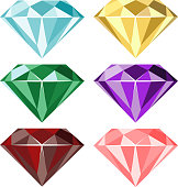 Set of vector gems and diamonds icons in different colors. Isolated on white.
