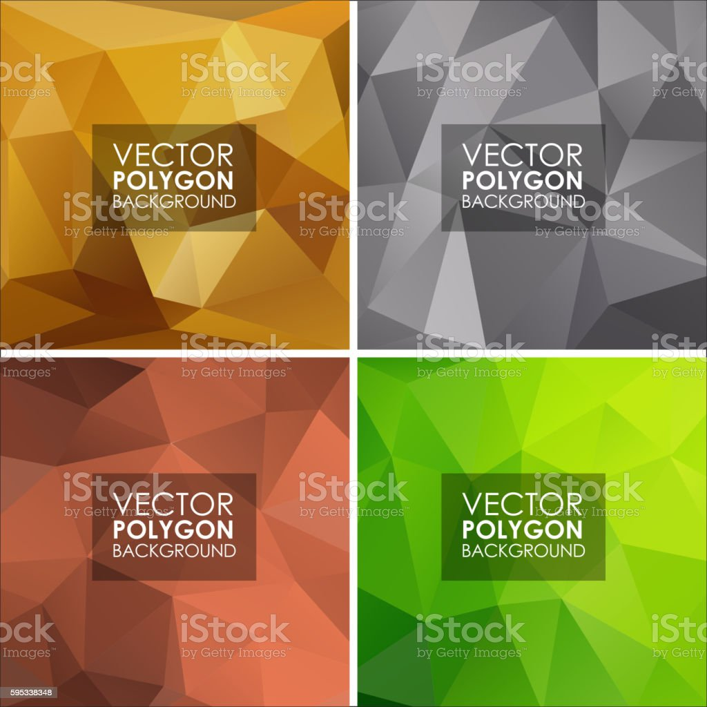 Set of vector geometric polygonal backgrounds vector art illustration