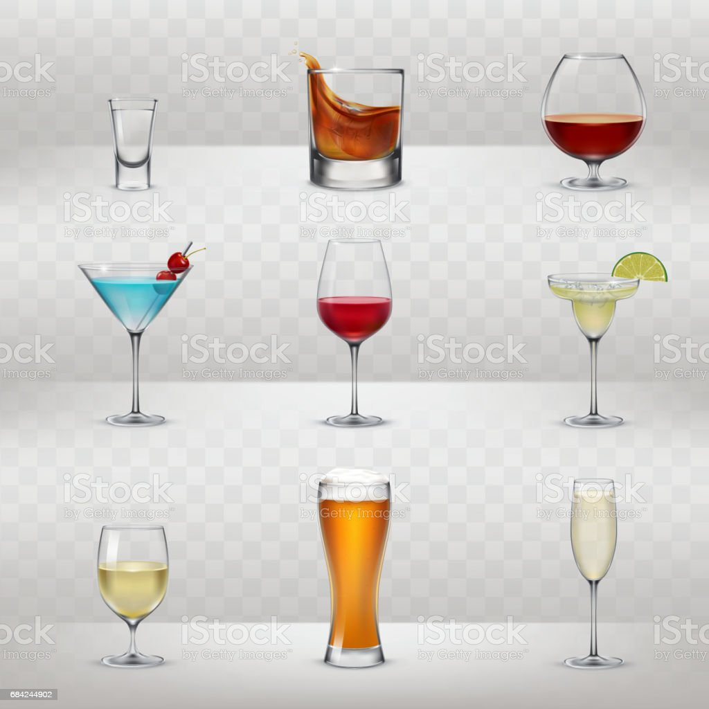 Set of vector glasses for alcohol vector art illustration