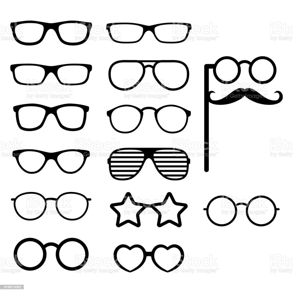 Set of vector glasses. Photo props. Hipster style. Different glasses types. Vector vector art illustration