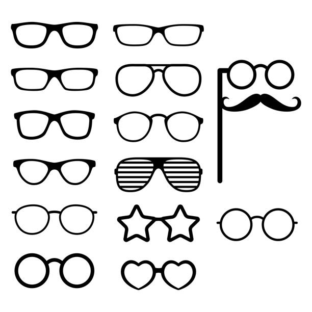 set of vector glasses. photo props. hipster style. different glasses types. vector - sunglasses stock illustrations, clip art, cartoons, & icons
