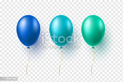 Set of vector glossy balloons in blue and green colors. 3d realistic decorative elements for holiday design. Isolated on transparent background.