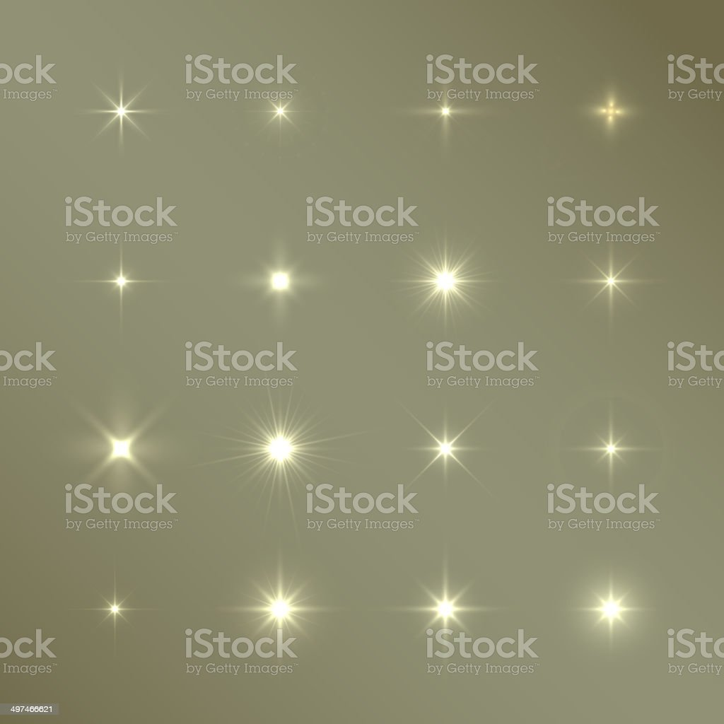 Set of Vector glowing light effect stars bursts with sparkles vector art illustration