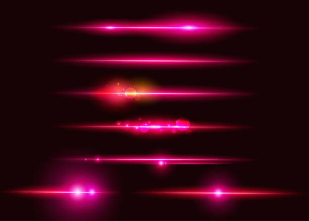 illustrazioni stock, clip art, cartoni animati e icone di tendenza di set of vector glowing neon light effects. abstract pink line with radiance and bokeh effect. ui design element. transparent lens flare. futuristic vibrant glow for game design, banner, frame, button. - rosa rossa
