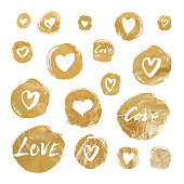 Set of vector gold foil circles with hand drawn hearts