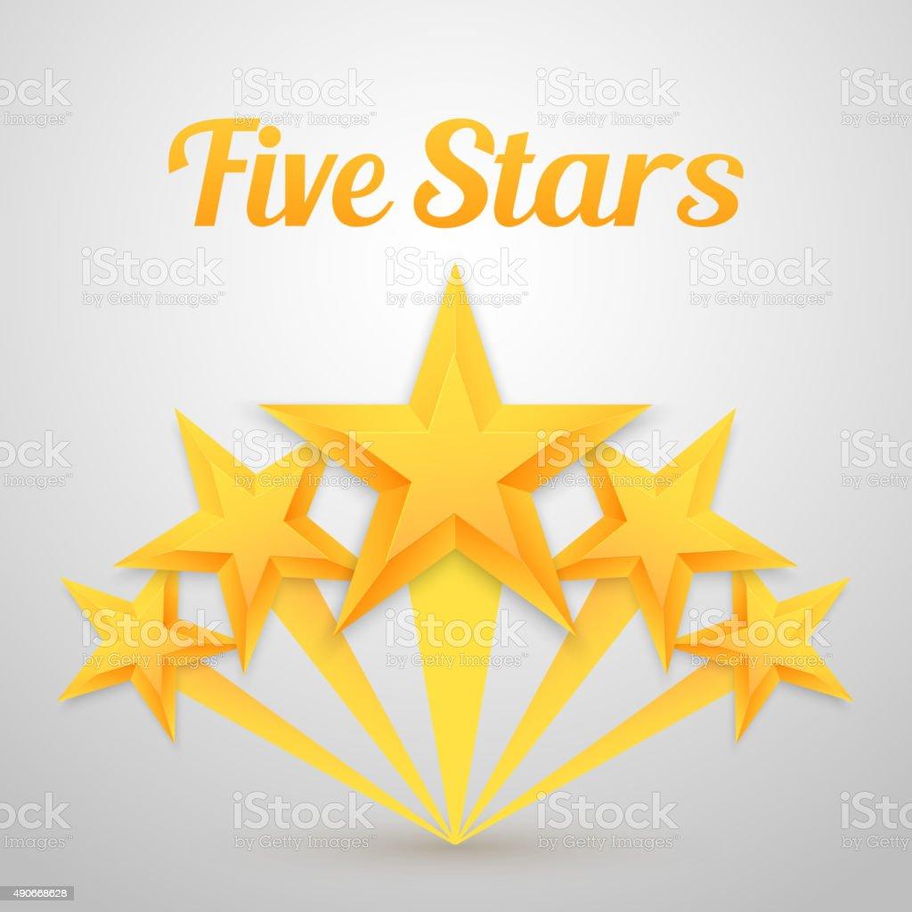 Set of Vector Gold Stars Icon. Five Stars Icon Template vector art illustration