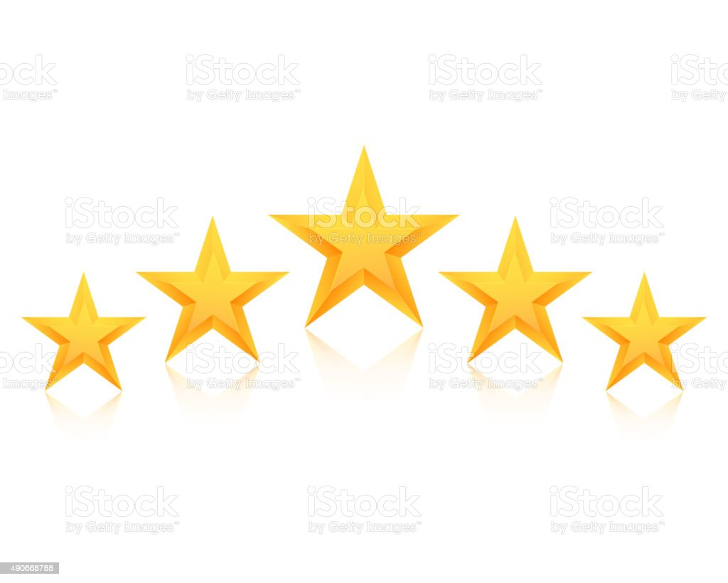 Set of Vector Gold Stars Icon. Five Stars Icon Template
