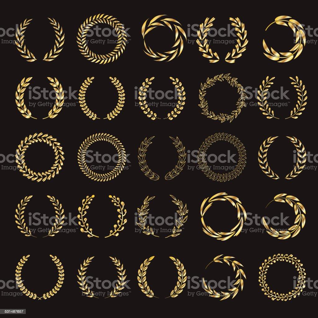 Set of vector golden laurel wreaths. vector art illustration