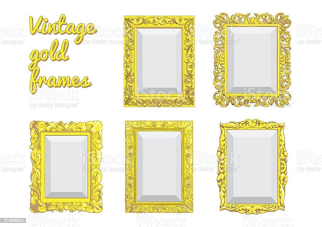 Набор векторных золотой Винтажные рамки векторная иллюстрация