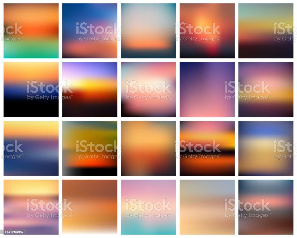 ベクトルのグラデーションの日没のセット。美しいカラフルな抽象的な日の出の背景 - まぶしいのロイヤリティフリーベクトルアート