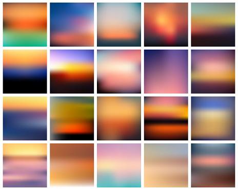 ベクトルのグラデーションの日没のセット美しいカラフルな抽象的な日の出の背景 - まぶしいのベクターアート素材や画像を多数ご用意