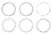 Set of vector graphic circle frames. Wreaths for design,  template. Stardust, stars, starry sky