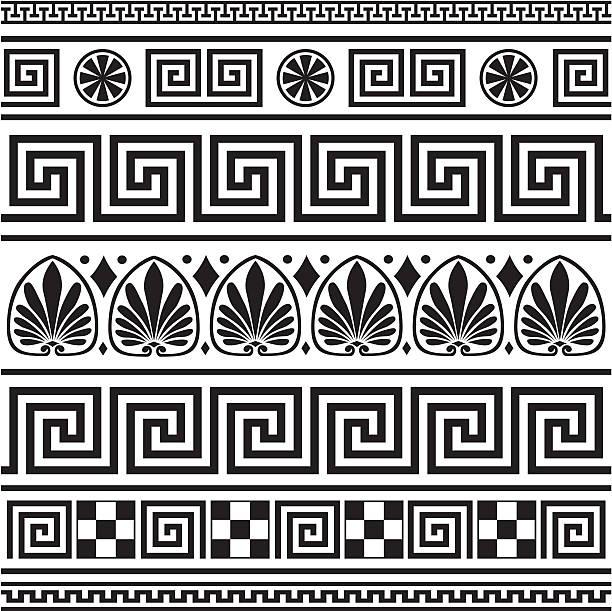 Set of vector greek borders  classical greek stock illustrations