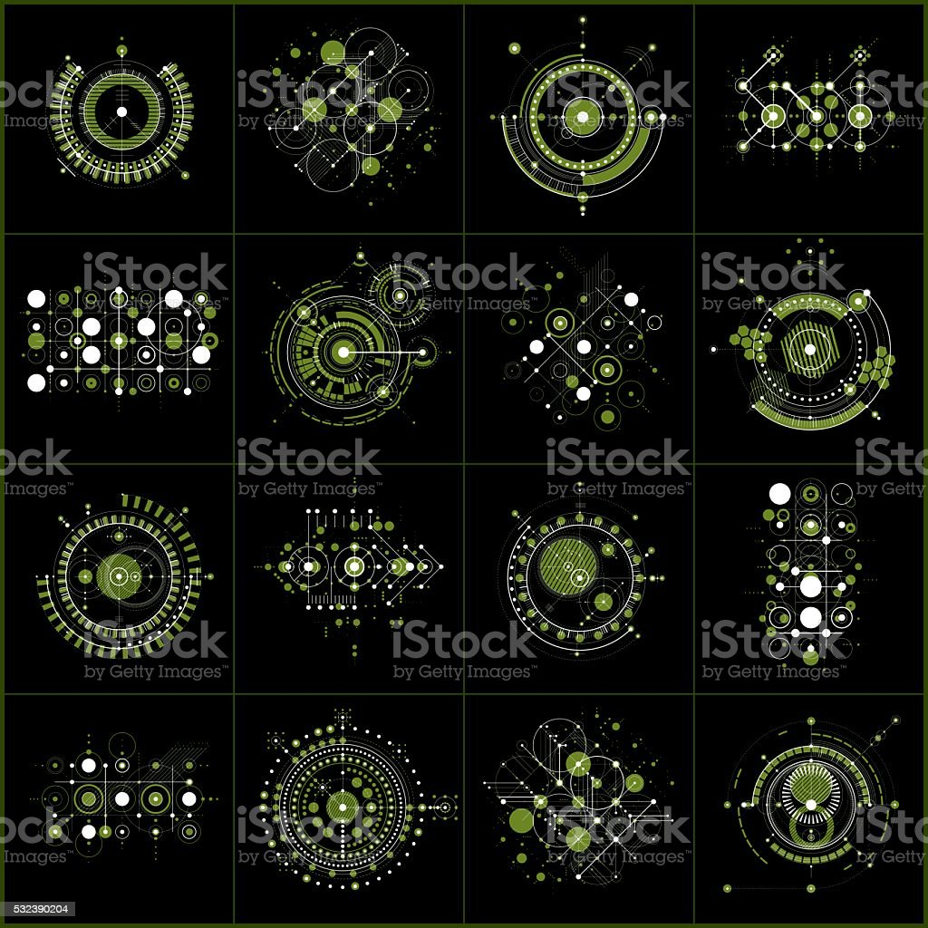 Set of vector green abstract backgrounds created in Bauhaus style vector art illustration