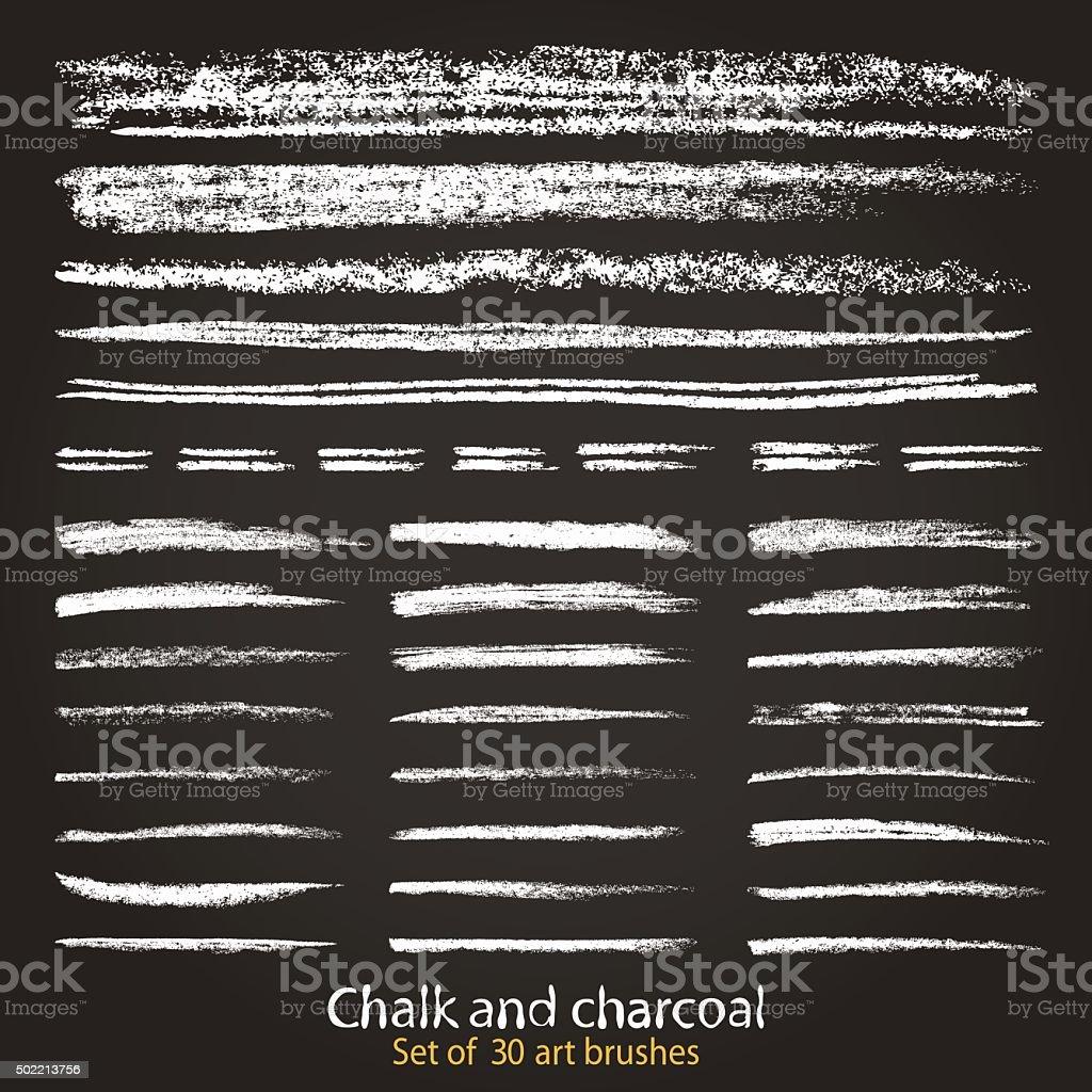 Conjunto de vector pinceles grunge creado con tiza y carbón - ilustración de arte vectorial