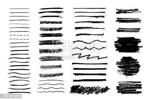 Set of vector grungy graphite pencil art brushes. Pencil textures of different shapes. Easy edit color and apply to any path, write and draw.