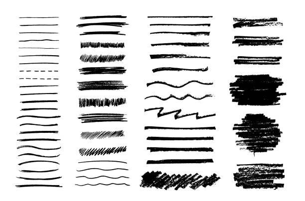 zestaw wektorowych grungy grafitowych pędzli ołówkowych. tekstury ołówka o różnych kształtach. łatwe edytowanie kolorów i zastosowanie do dowolnej ścieżki, zapisu i rysowania. - linia stock illustrations