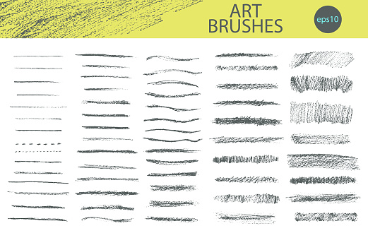 Set of vector grungy graphite pencil art brushes.