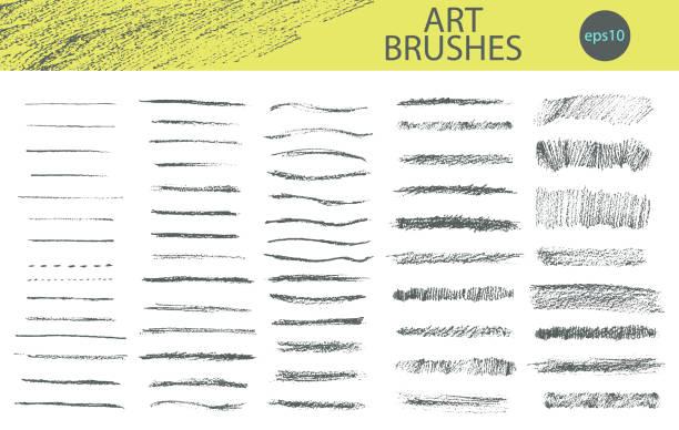bildbanksillustrationer, clip art samt tecknat material och ikoner med uppsättning vektor grungy grafit penna art penslar. - skuggig