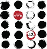 Set of vector grungy ink round shapes and frames.