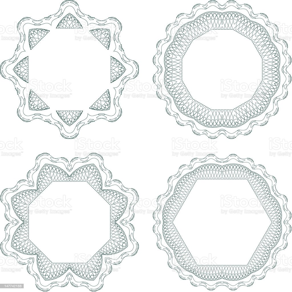 Set of vector guilloche rosettes royalty-free set of vector guilloche rosettes stock vector art & more images of award ribbon