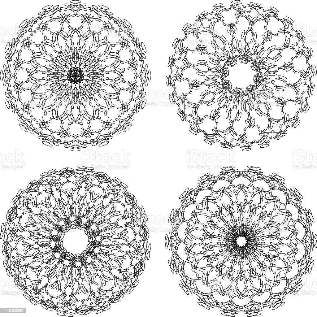 Set of vector guilloche rosettes royalty-free stock vector art