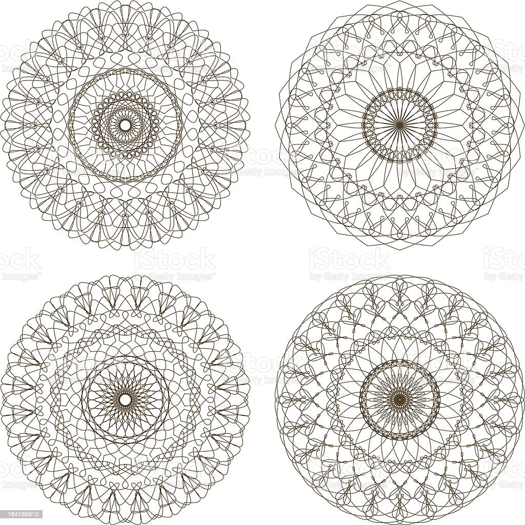 Set of vector guilloche rosettes royalty-free set of vector guilloche rosettes stock vector art & more images of abstract