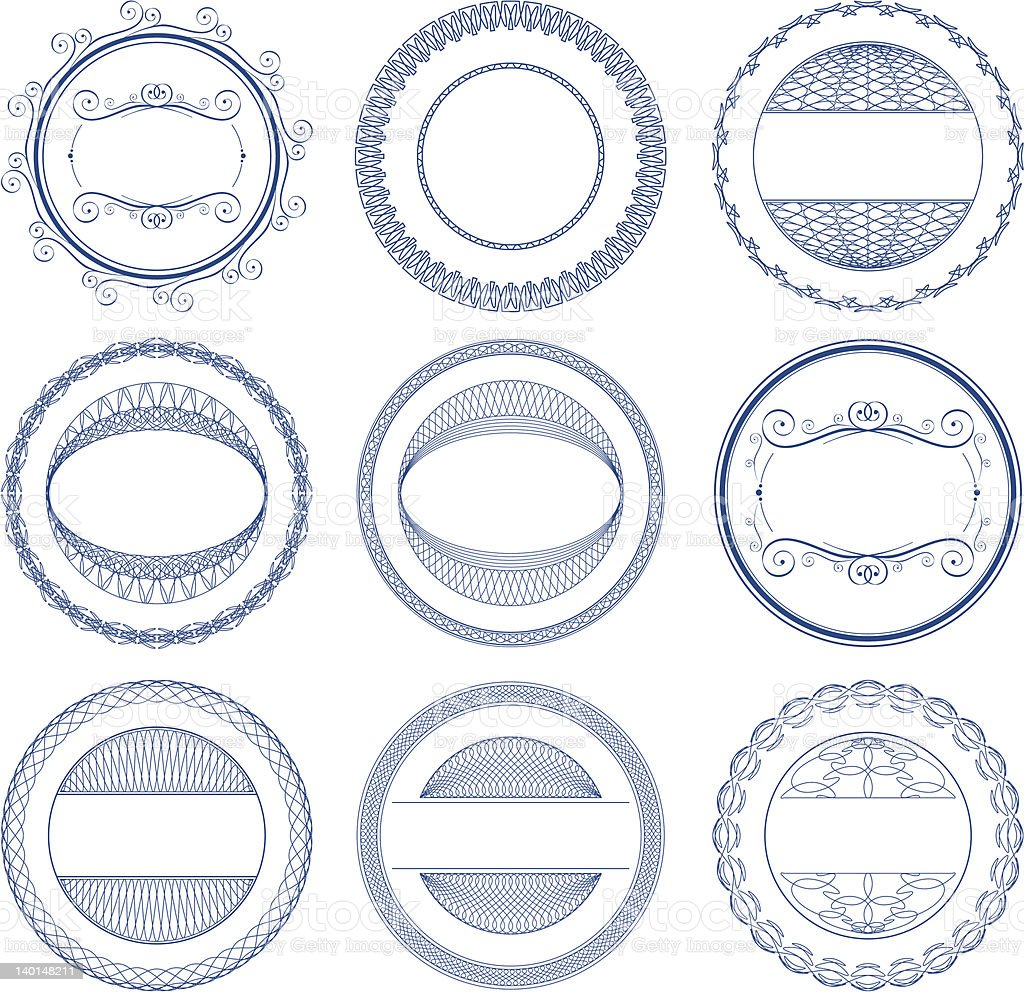 Set of vector guilloche seal royalty-free set of vector guilloche seal stock vector art & more images of abstract