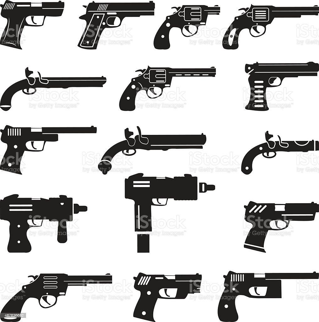 Conjunto de vetor de armas, handguns e pistols - ilustração de arte em vetor