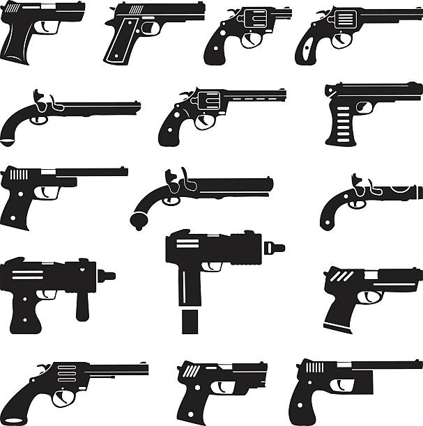 Set of vector guns, handguns and pistols Set of vector guns, handguns and pistols pistol stock illustrations