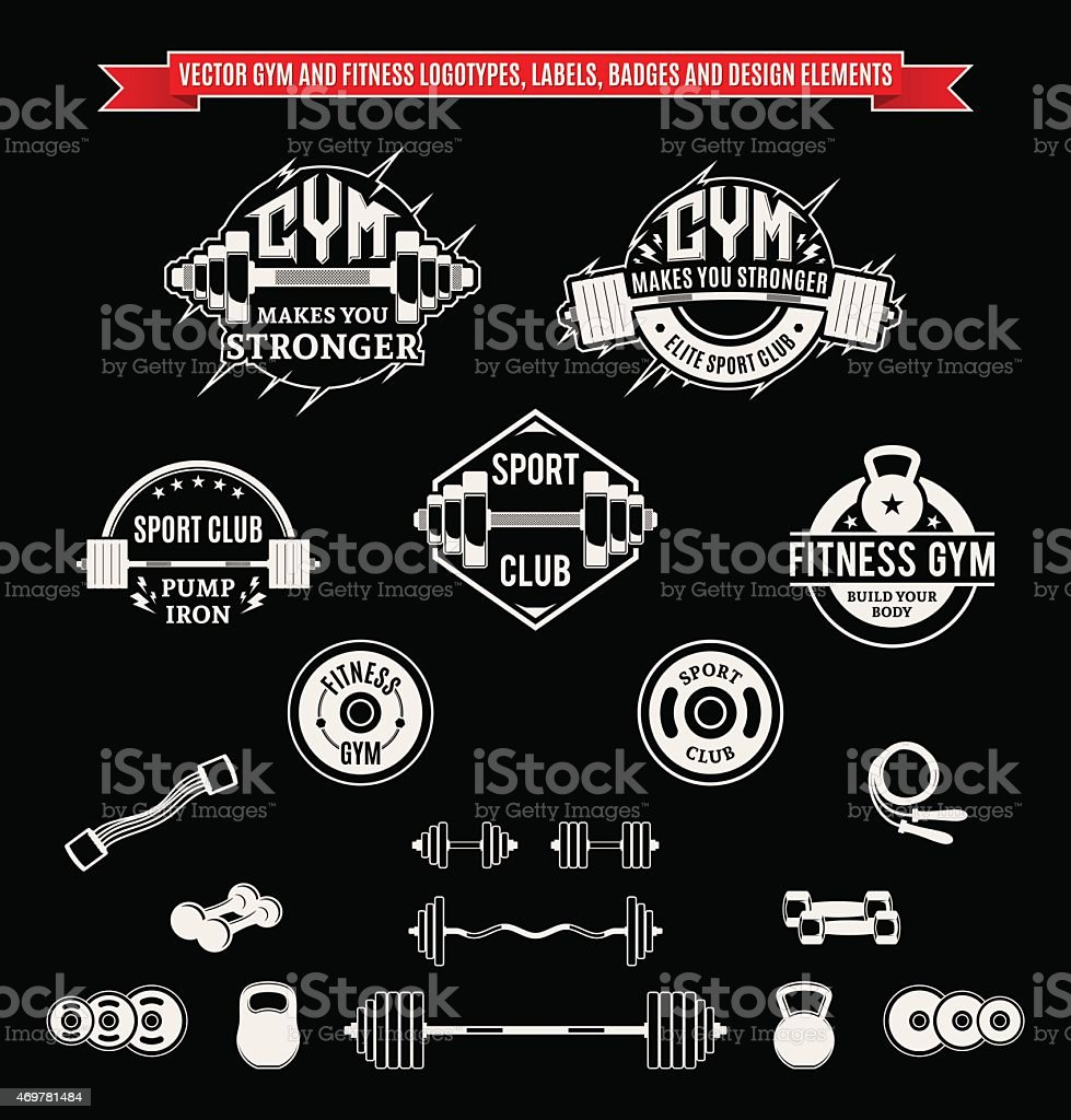 Set of Vector Gym and Fitness Labels, Badges and Design Elements vector art illustration