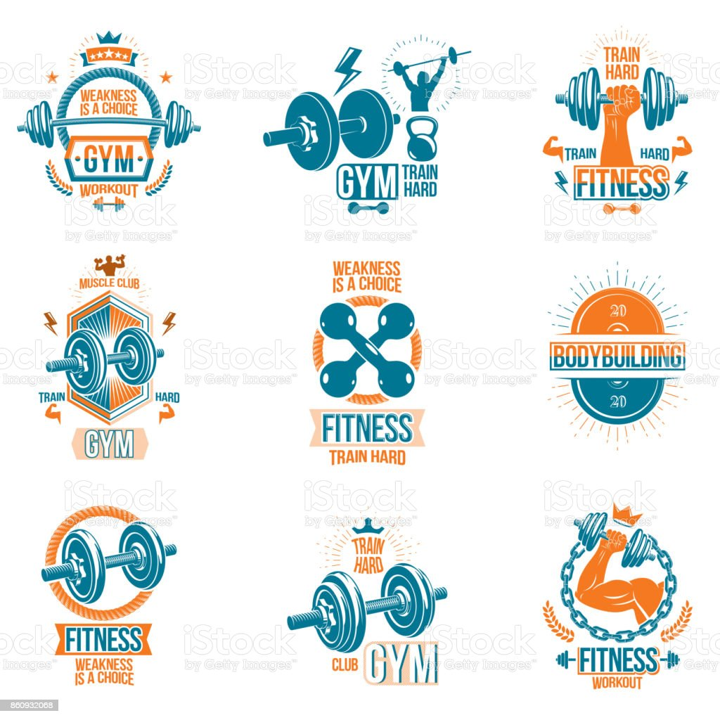 Set Of Vector Gym And Fitness Theme Emblems And Motivational