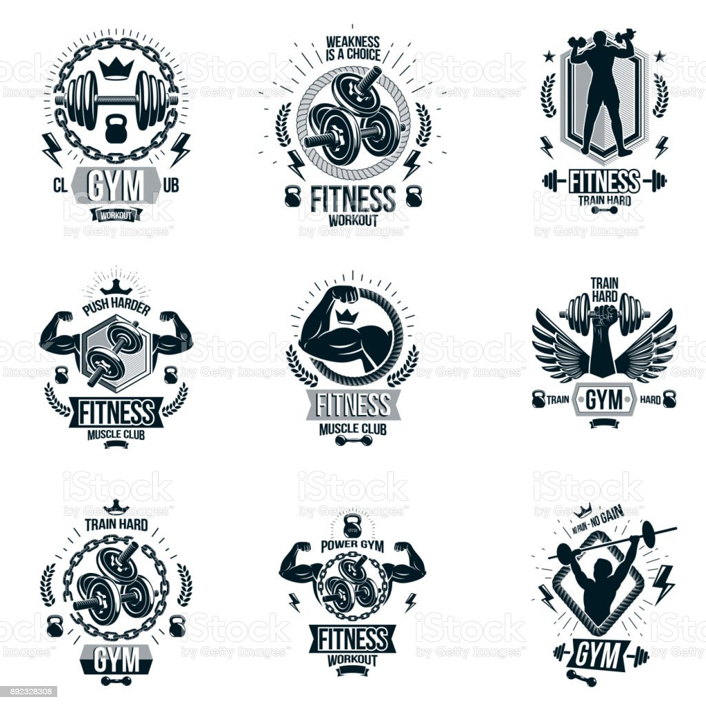 Set Of Vector Gym And Fitness Theme Emblems Motivational Posters Created With Dumbbells Barbells