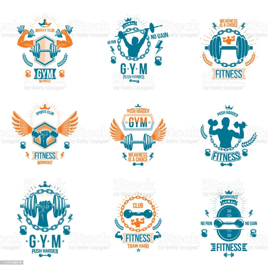 Ilustración De Conjunto De Vectores Gimnasio Tema Emblemas Y