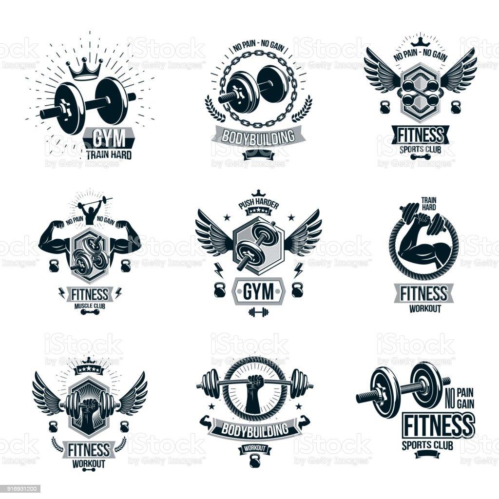 Ilustración De Conjunto De Vectores Gimnasio Tema Emblemas Y Carteles Motivacionales Había Compuesto Con Mancuernas Barras Campanas Hervidor Deporte