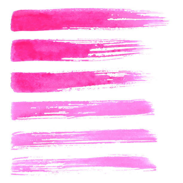 Set of vector hadnpainted brush strokes. Set of vector brush strokes. Watrecolor red pink brush hand painting on white background. hyphen stock illustrations