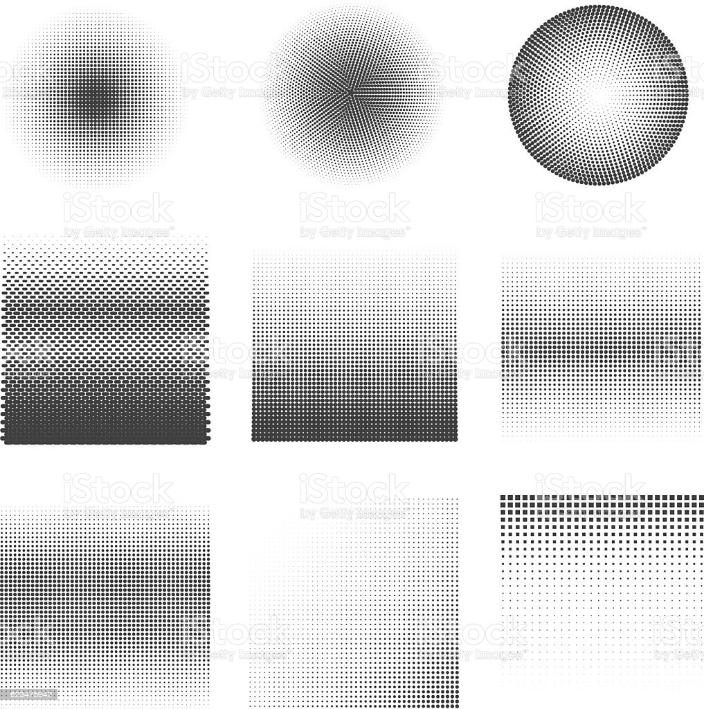 Set of Vector halftone dots Patterns. vector art illustration