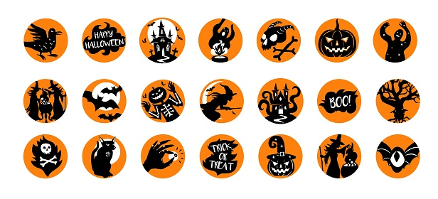 Set of vector Halloween icons. Black silhouettes of illustrations of Halloween design in orange circles.