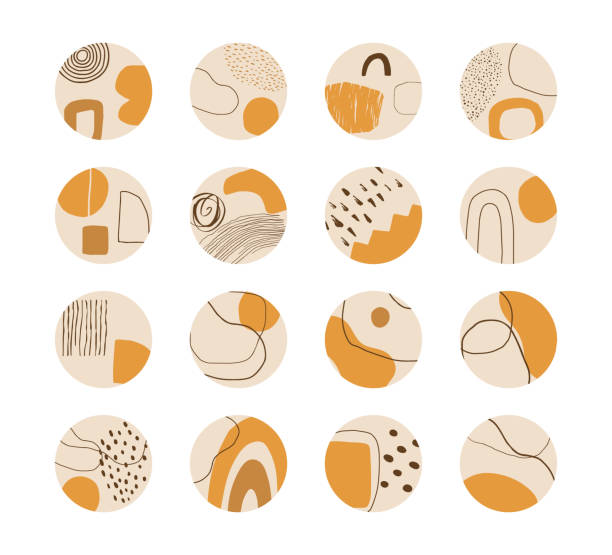 Set of vector hand drawn abstract collage templates for social media highlights. Contemporary art objects, doodle elements. Set of hand drawn abstract collage templates for social media highlights. Contemporary art objects, doodle elements. Vector. neo classical stock illustrations